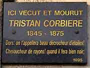 plaque commemorative tristan corbiere morlaix