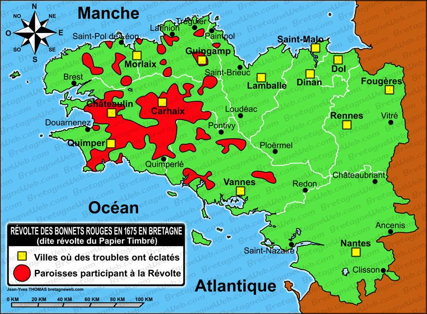 Carte Bretagne Avec Km.Histoire De La Bretagne Apres 1491 Bretagneweb Com