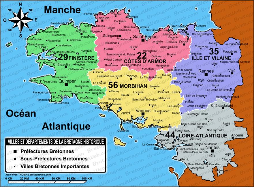 carte de bretagne avec les villes principales